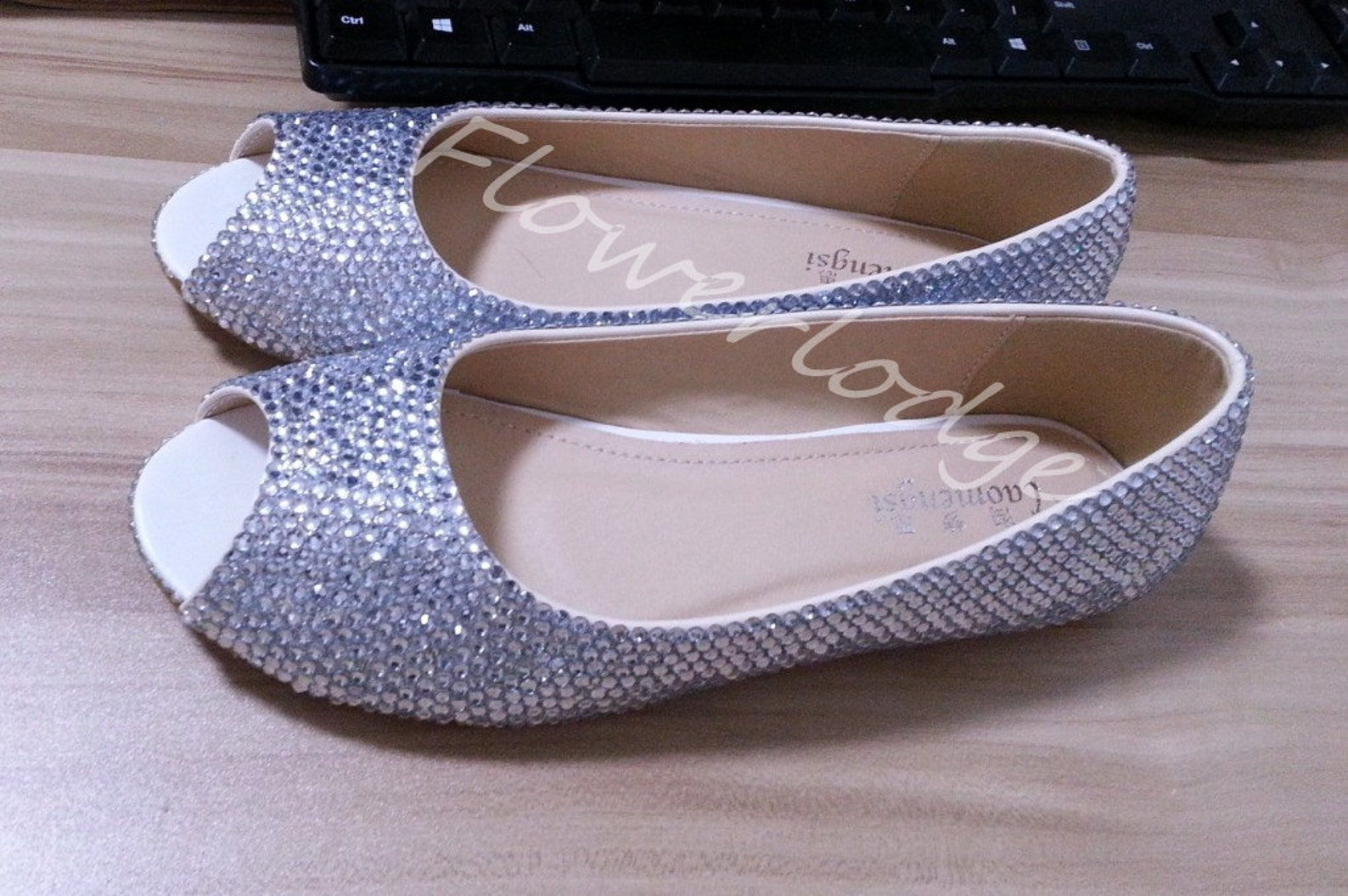 sparkle ballet flats shoes, silver rhinestone women slipper shoes, customize prom shoes , open toe ballet flat shoes women heels