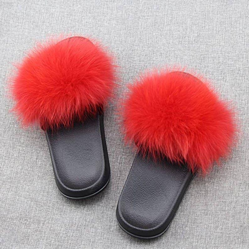 3a58a59044b9 Fuzzy Puffs Black Flip Flops-Red Pom Poms Flip Flops-fluffy