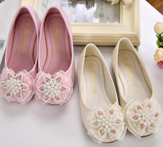 Ivoire/rose fille de fleur chaussures dentelle perles pierres Champagne filles Chic Chaussures enfant bébé enfants Chaussures enfants Nice