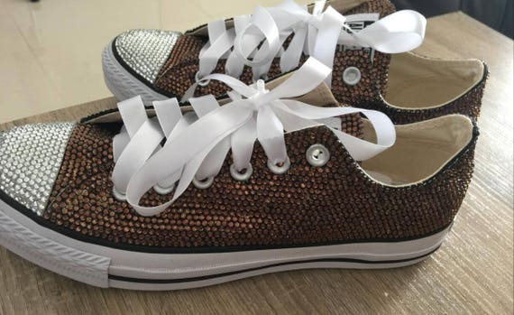 364a702a6a138a Girls bling rhinestone sneaker shoes dark brown crystal low