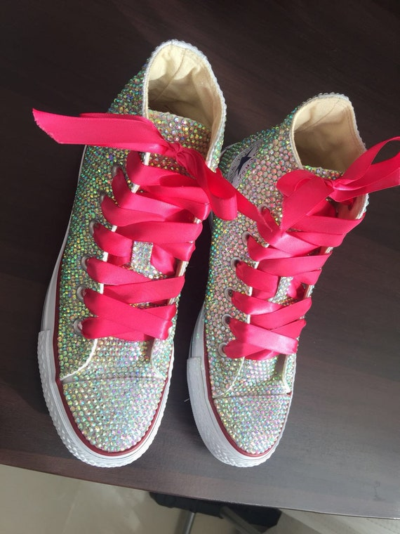 Brillant chaussures Converse bling converse AB cristal haut top converse sneaker Bridal Flower Girl baskets chaussures Hot Pink ruban en satin et