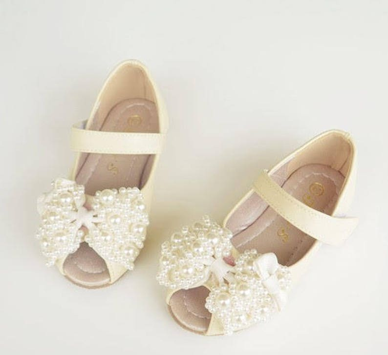Peep toe Toddler flower girl shoees open toe toddler shoes pearls beads bow girls party shoes