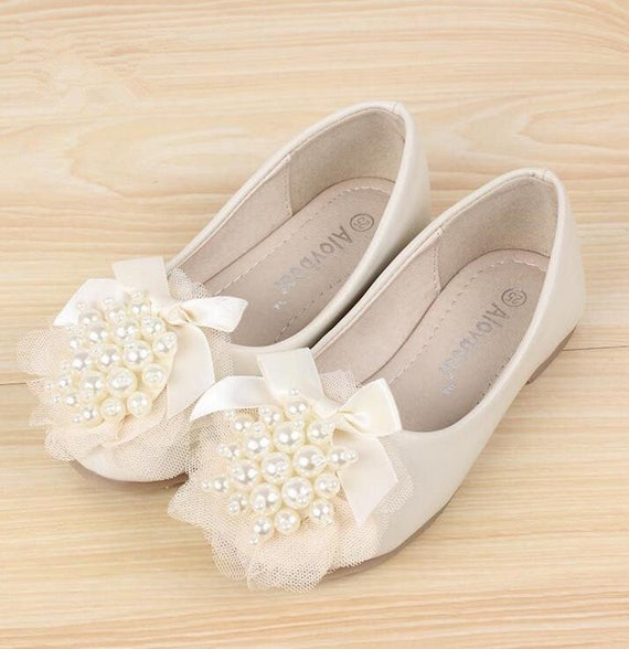 efcbd126cda7c Ivory Slip-on Flower Girl Shoes Toddler Girl Shoes Ribbon Pearls Lace Girls  Princess Leather Shoes Custom Pink Girls Shoes