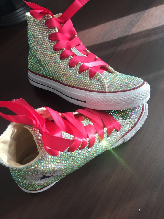 Sparkly Converse Shoes bling converse AB crystal high top converse sneaker Bridal Flower Girl Sneaker Shoes Hot Pink satin lace ribbon