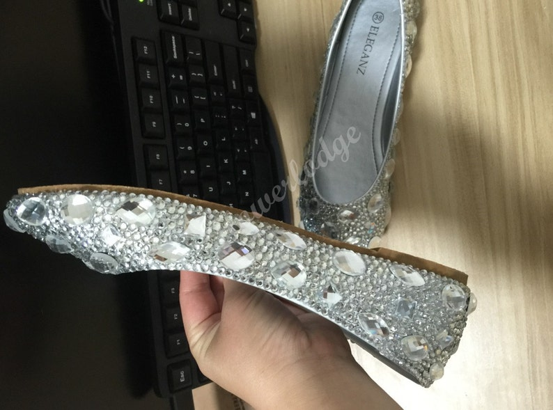 8c55bb81ed6 Rhinestone Women Flat Shoes Clean Gems Stones Sparkly Crystal
