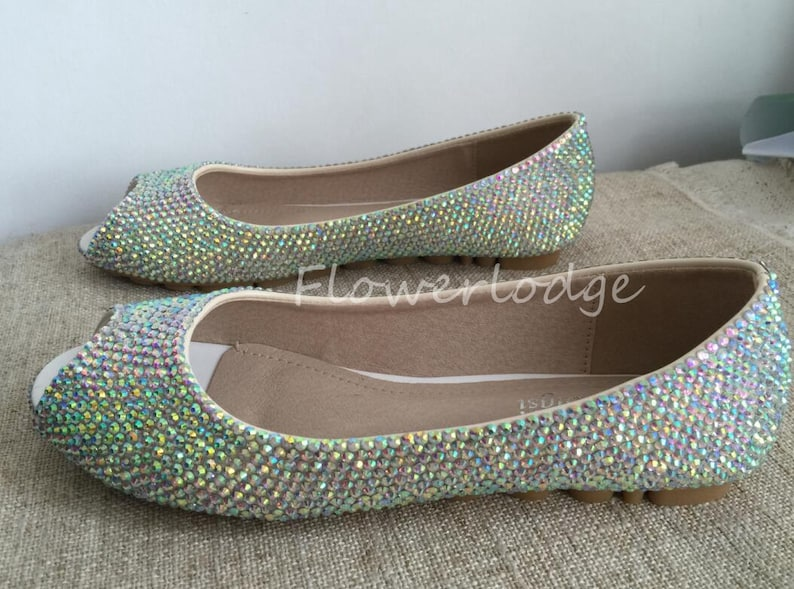c863e54ca370b Peep toe Women Crystal Ballet Flat Shoes Bridesmaid Custom Slipper Shoes  available custom other color