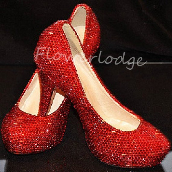 4c162297016a Red Rhinestone Women Pumps Shoes Closed Toe Heels Ruby Red