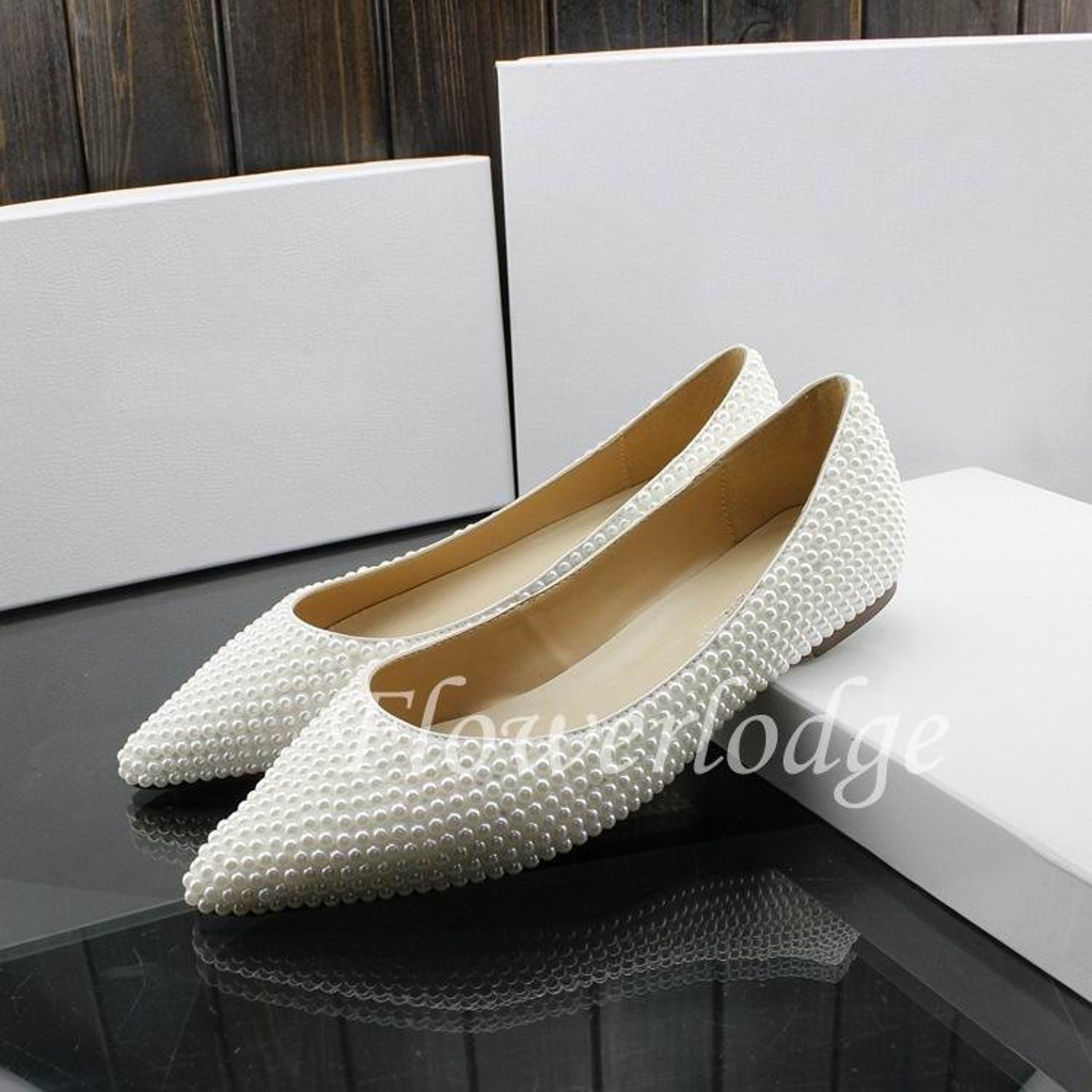 pearl flats shoes ponited toe closed toe women shoes flats ivory ballet flats soft comfortable flat shoes, custom white pearl fl