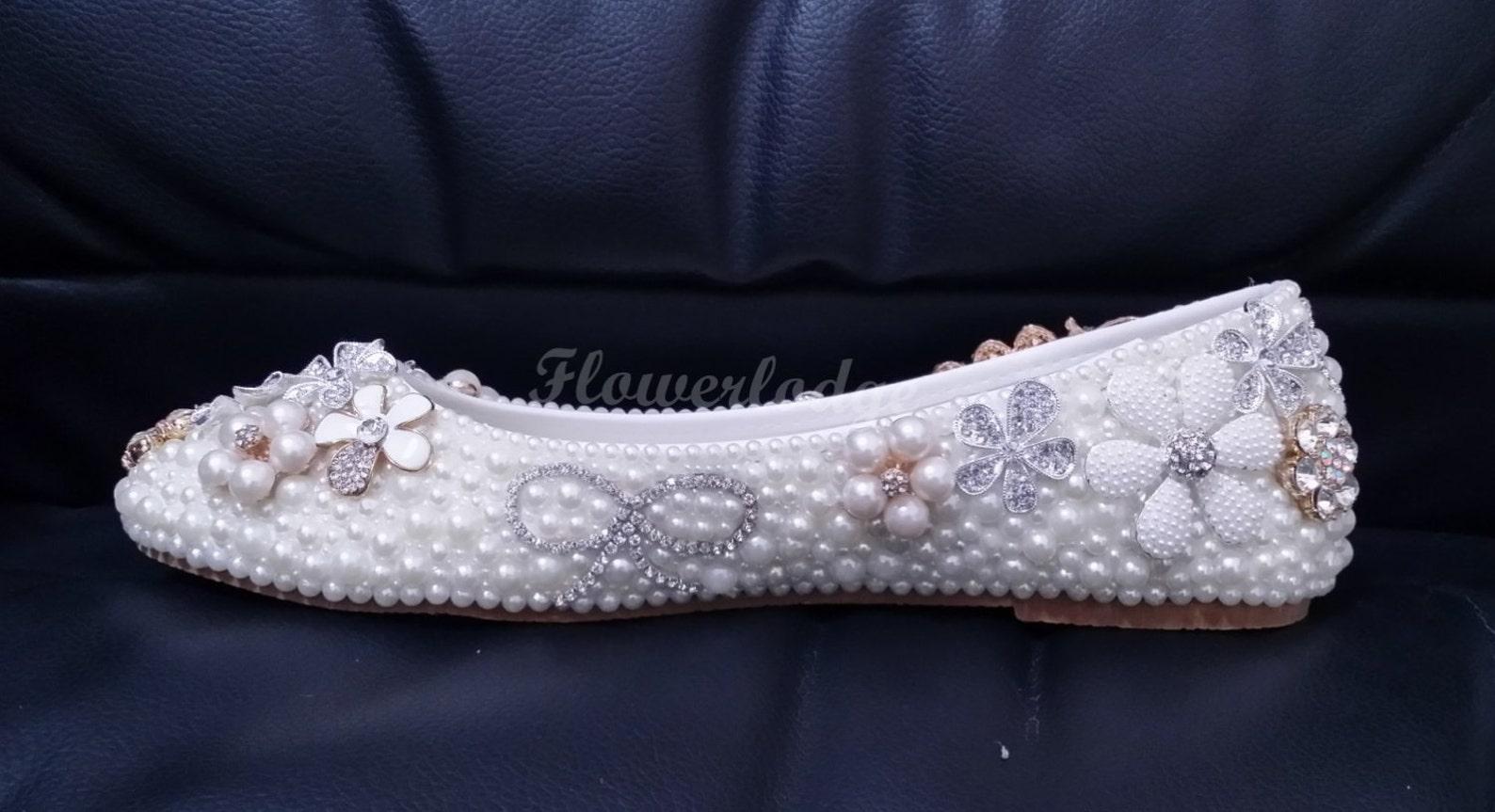 unique women flat shoes ivory pearl rhinestone ballet flats peacock glitter crystal cute bow flowers handmade to order women/gir