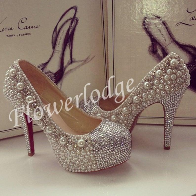 3d0c6c6bf2ce Ivory High Heels Silver Rhinestone Closed Toe Prom Women Shoes