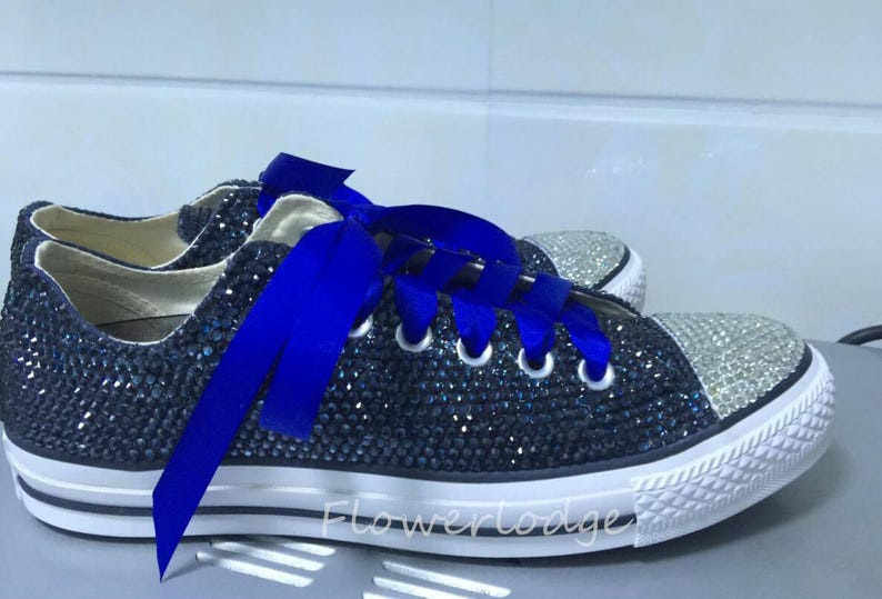 7167979f0 Crystal Converse Prom Shoes Navy Blingy Sneaker low high-top