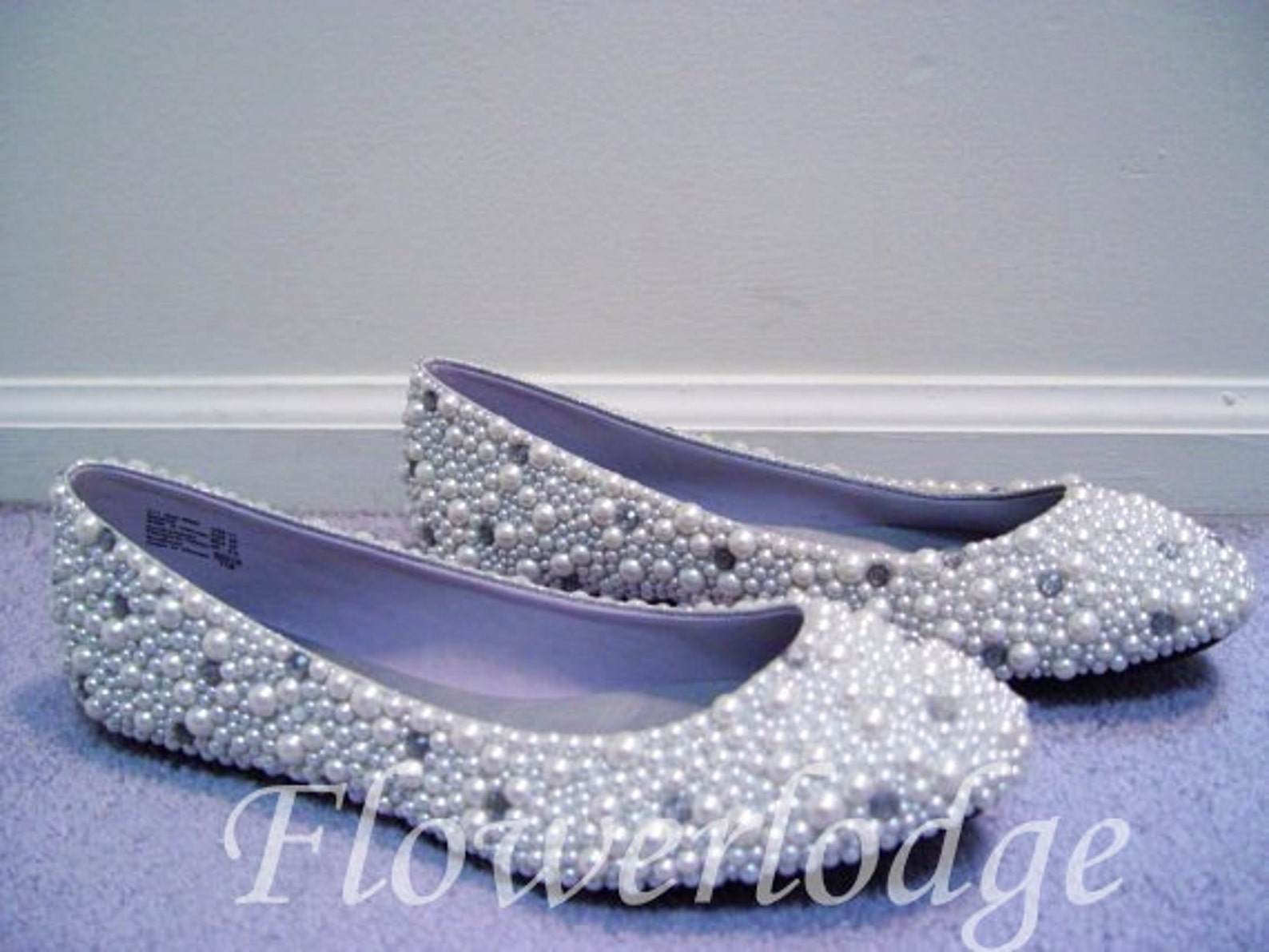 soft comfortable ballet flats shoes pearlized shoes pearl clean rhinestone ballet slippers, ivory women shoes flats-made to orde