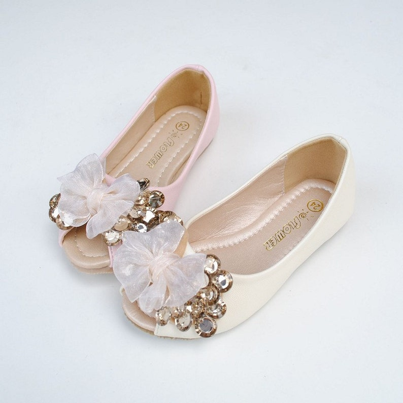 9754cec22aa Peep toe flower girl shoes-ivory lace bow champage gems blingy