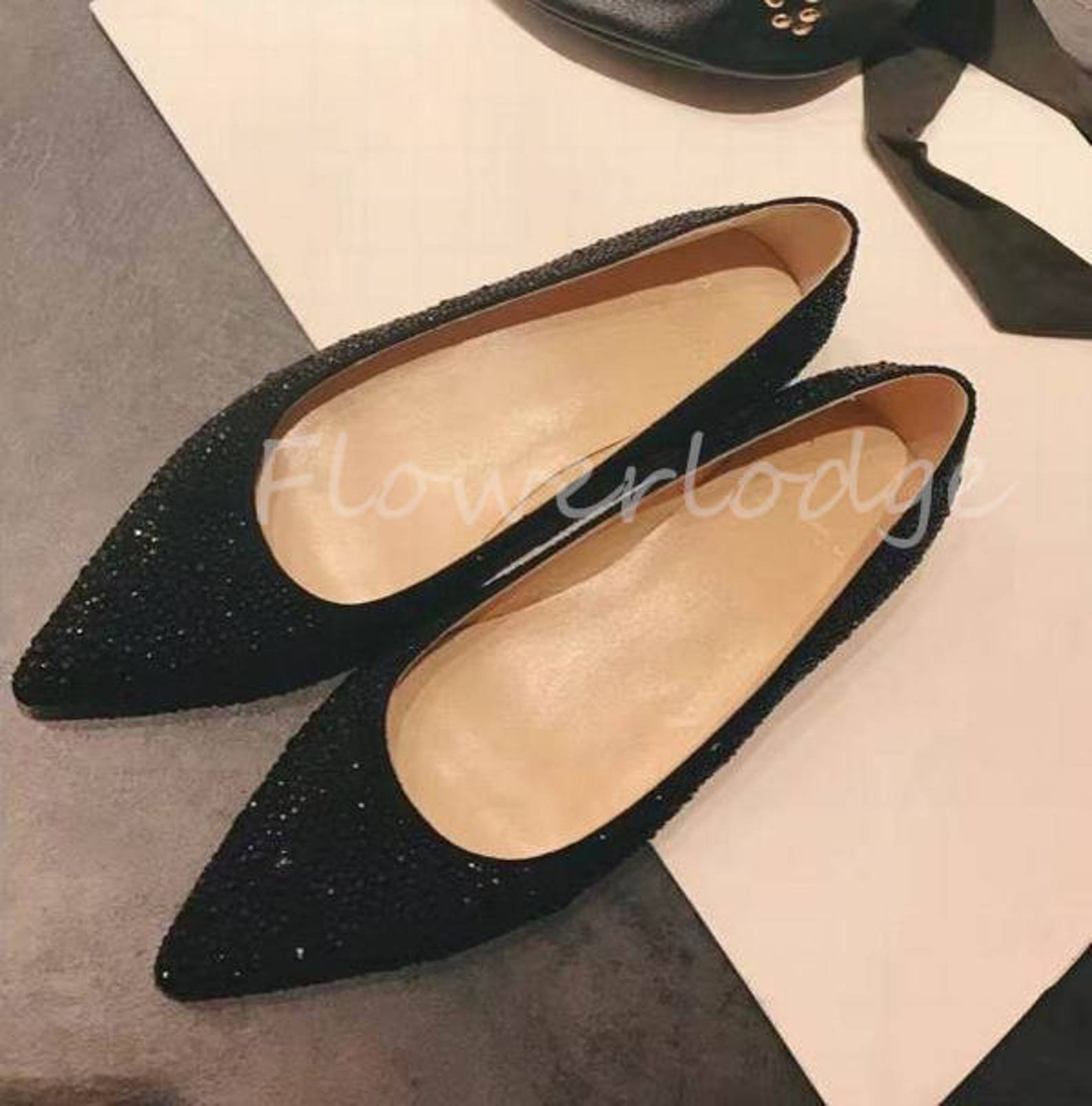 black glitter crystal pointed toe ballet flats rhinestone women shoes bling sparkly customize other