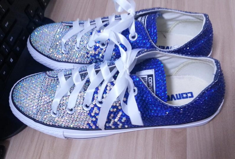 15df851eb2bb Bling Crystal Converse Shoes Glitter bride sneaker low high
