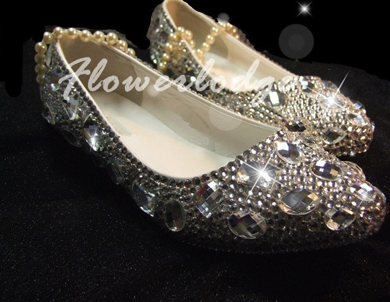 8825cf17e14 Cristal plano zapatos Swarovski gemas Rhionestone | Etsy