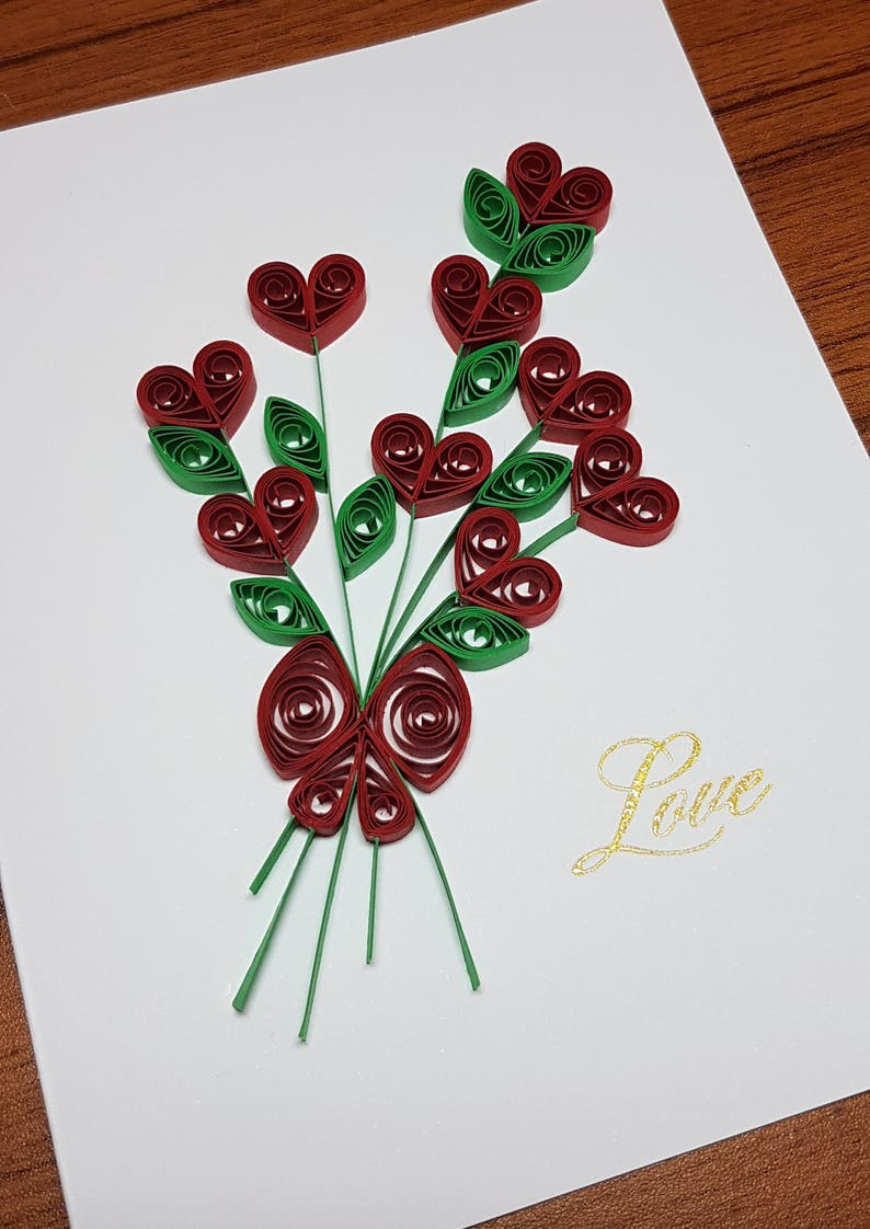 paper quilled love card 5x65  etsy