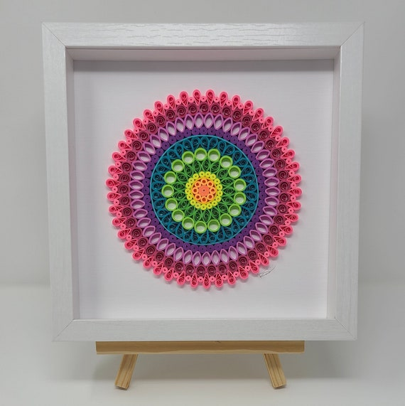 9x9 Paper Quilled Mandala Framed