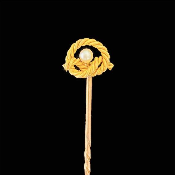 Lapel Hat Cravat etc 15ct Gold Pearl Stick Pin Antique Solid 15k 625 Rose  Yellow for Tie