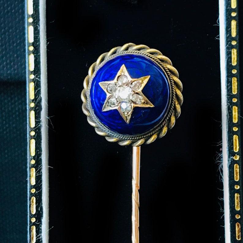 tie Stick cravat lapel pin Victorian Gold Guilloche Enamel and Diamond star Circa 1860
