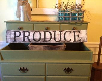 Farmhouse White Wash Produce Kitchen Sign