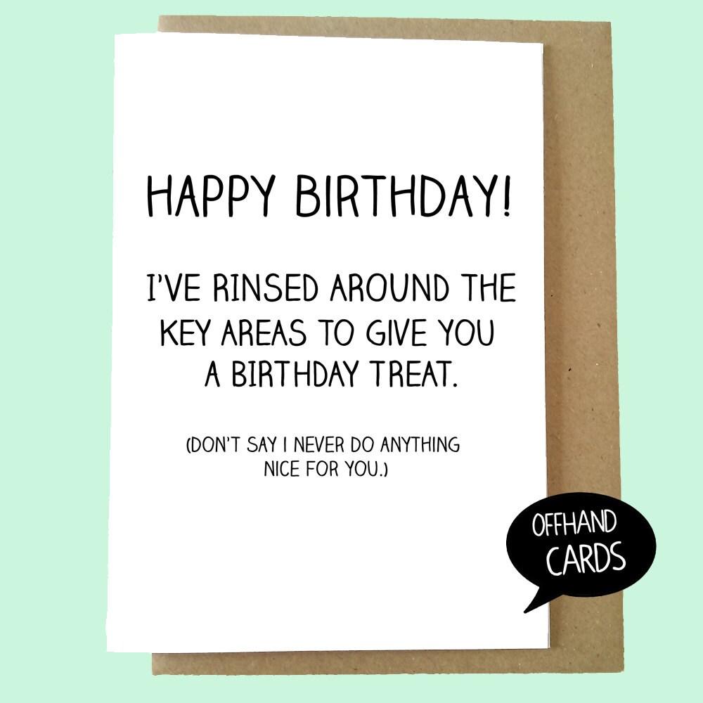 Birthday treat funny birthday card rude greetings card sexual innuendo funny card british made husband wife partner blank inside