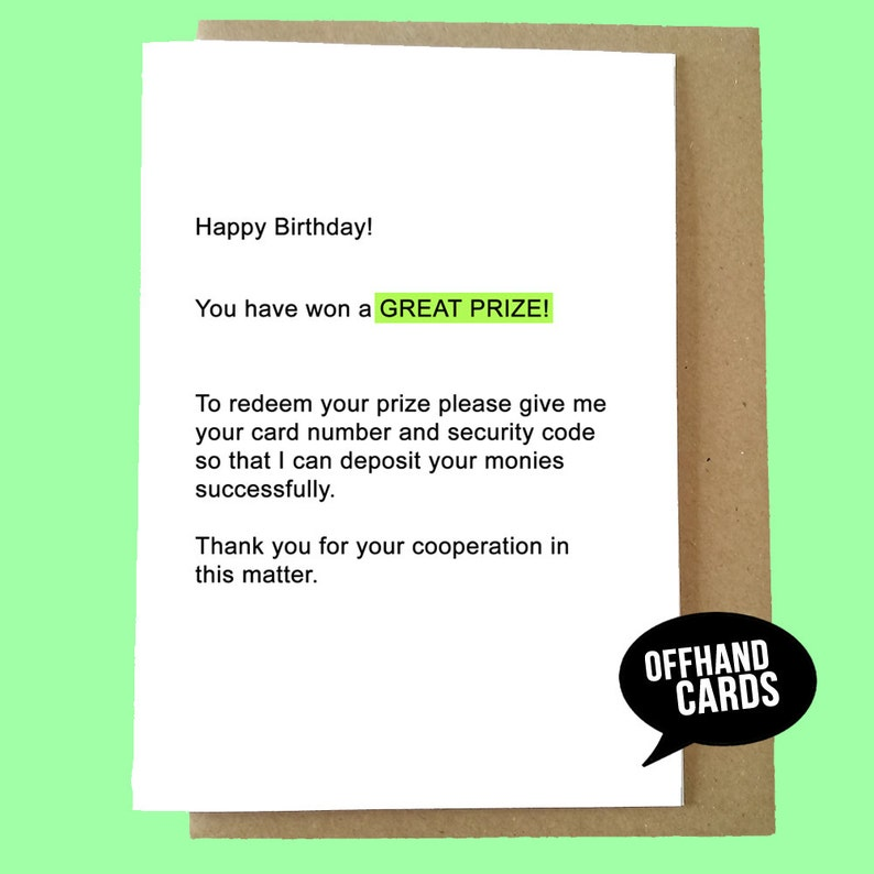 Funny Scam Email Birthday Card Humour