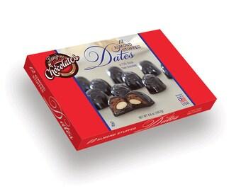 12pc Dark Chocolate Covered Almond Stufed Dates