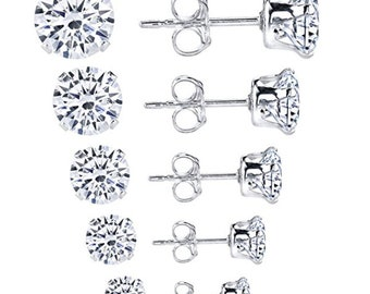 Sterling Silver Set of 4 Pairs of Sparkling Round Stud Earrings 2 Pairs 2.0mm /& 2 Pairs of 2.5mm Each Pair **FAST SHIPPING**