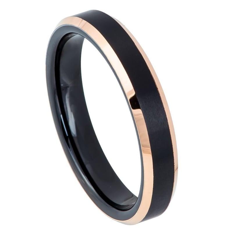 Tungsten Carbide Two Tone Black IP Rose Gold IP Brushed Center Beveled Edge Band Ring 4mm