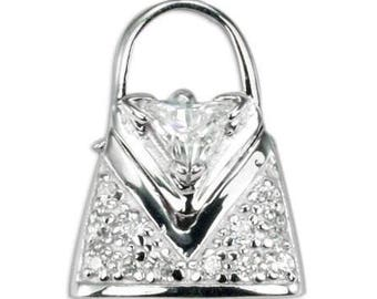 Sterling Silver Purse Handbag CZ Pendant PZ-8071