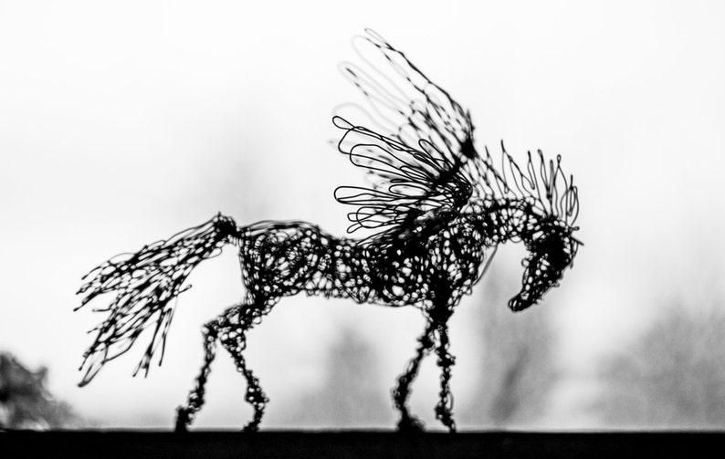 Black Horse Art Brass Sculpture Horse Art Sculpture Brass Home Decor Art Deco Sculpture Horse Art Wired Animal Pegasus Figure