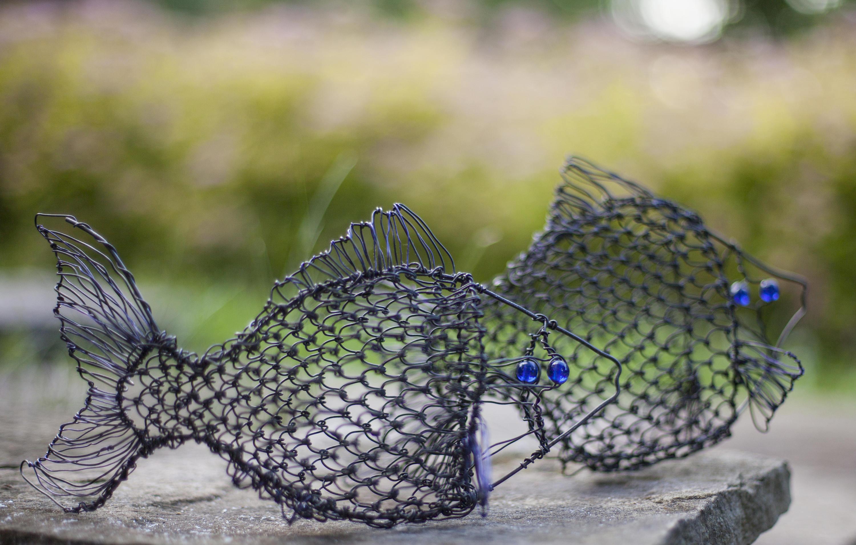 Fisch Sclulpture Draht Fische Sternzeichen Dekor Drahtkunst