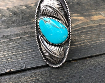 Turquoise Feather Statement Ring