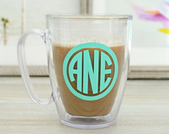 Monogrammed Tervis Coffee Mug, Personalized Coffee Mug, Circle Monogram Coffee Mug, Tervis Coffee Mug