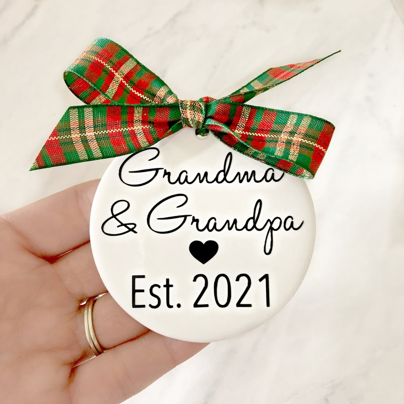 Pregnancy Announcement Christmas Ornaments Grandma & Grandpa image 0