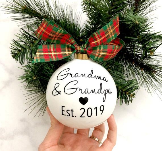 Pregnancy Announcement Christmas Ornaments, Grandma & Grandpa Christmas  Ornaments, Pregnancy Reveal Idea, Baby Announcement Ornament - Pregnancy Announcement Christmas Ornaments Grandma & Grandpa Etsy