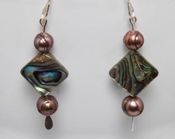 Abalone diamond earrings-A308
