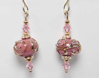 Raspberry rose earrings-A321