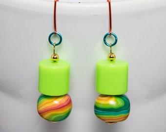 Funky neon earrings-A275