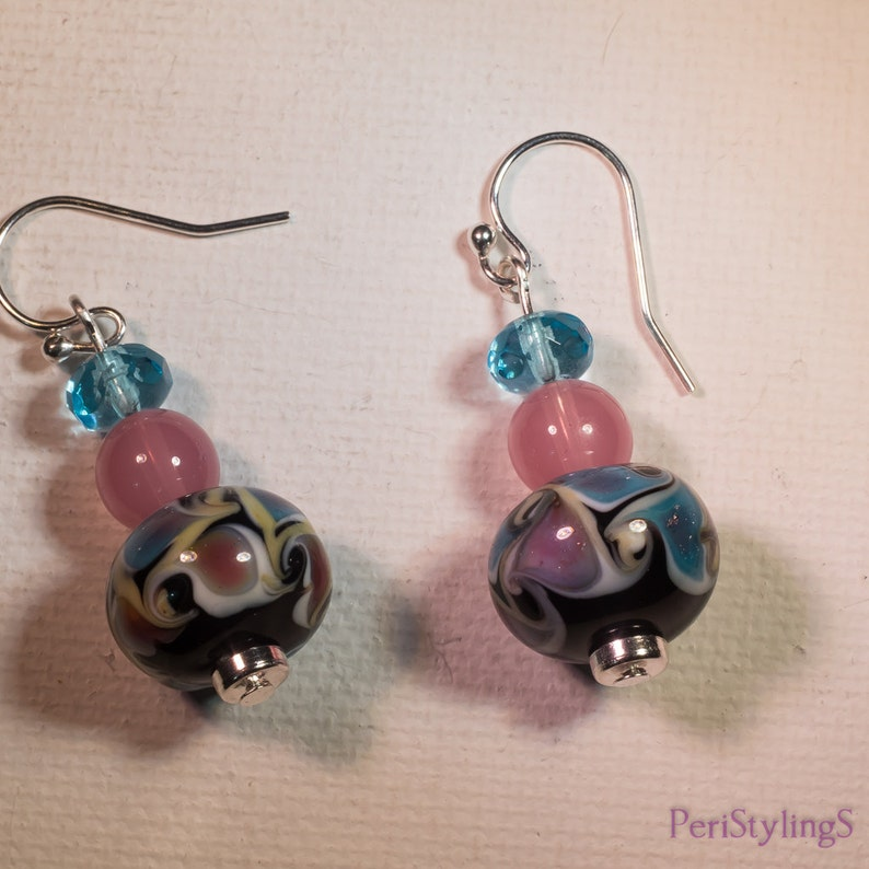 Lampwork necklace and earring set-G110