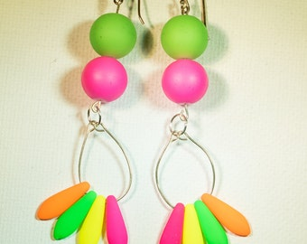 Bright neon funky earrings-A176