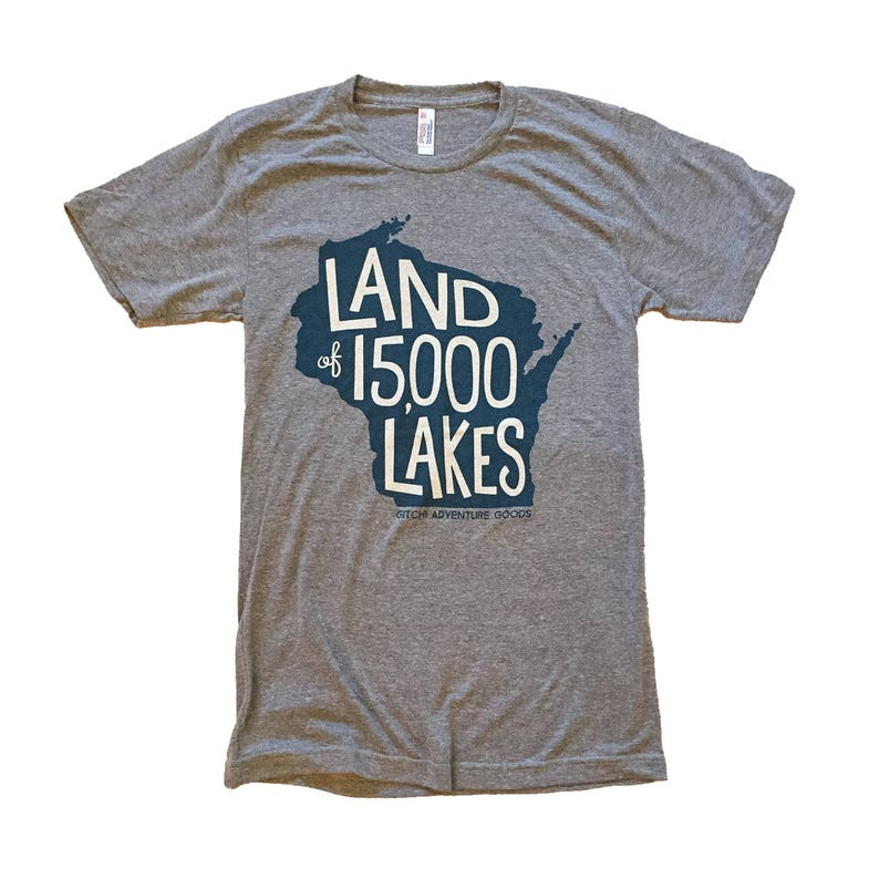 4a2ab707f SALE Land of 15000 Lakes WI T-Shirt Two-Color Super | Etsy