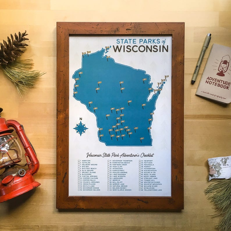 Wisconsin State Parks Map & Checklist | 11x17