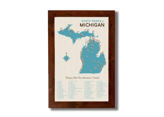 Michigan State Parks Map Checklist 11x17 Etsy