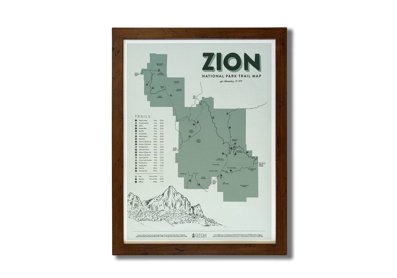 Zion National Park Trail Map 18x24 | Etsy on