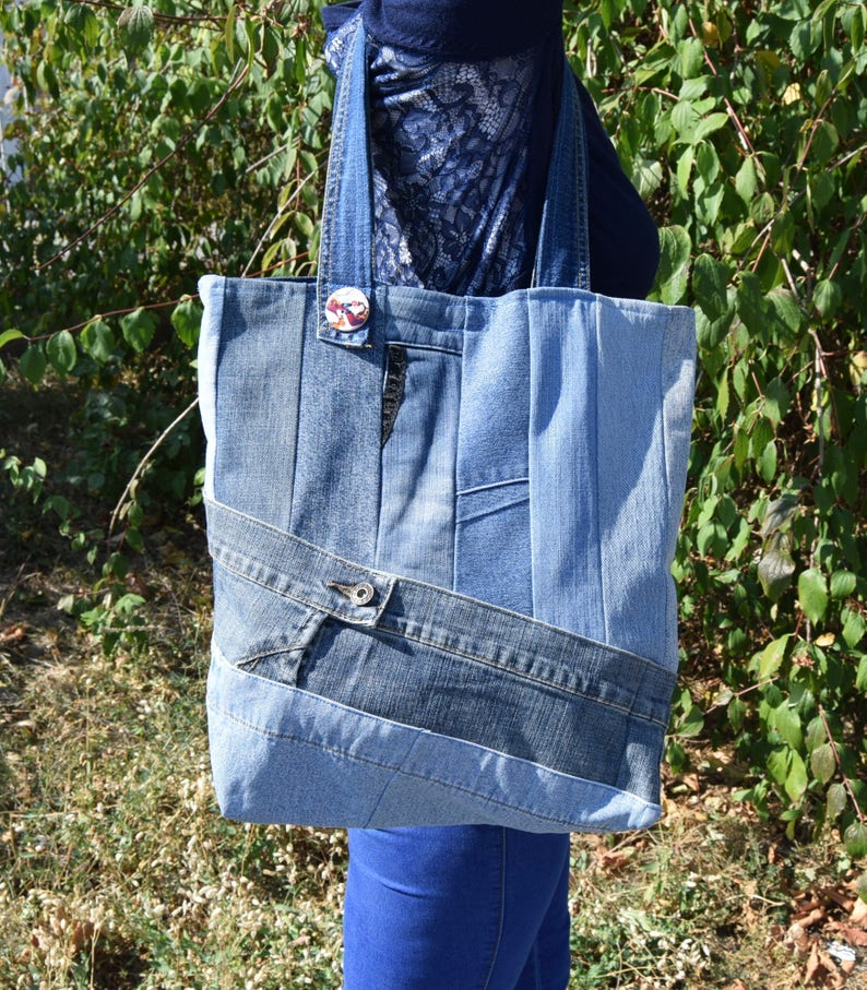 80d609f58be2b2 Very big denim handbag Recycled denim tote Pachwork tote | Etsy