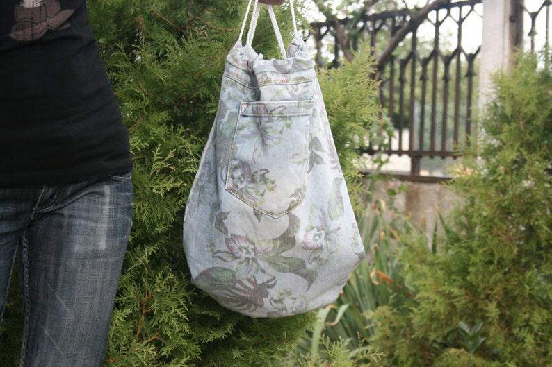 Floral denim backpack Boho backpack Floral pattern backpack Drawstrings backpack,Teenage Backpack