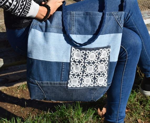 Medium White Hand Made Boho Bag Crochet Bohemian Bag Shoulder bag hand made French Tote bag on antique linen beach Bag- Funny Tote Bag -