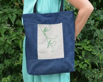 Denim Tote / Denim Handbag / Grocery Bag / Market Bag / Tote Bag / Denim Bag / Recycled Tote / Boho Hippie Bag
